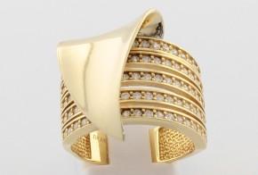 Дамски пръстен от жълто злато с циркони DD0137