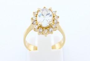 Дамски пръстен от жълто злато с циркони DD0060