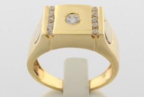 Мъжки пръстен от бяло и  жълто злато MD0036