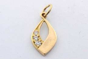 Златна висулка от   жълто злато  с циркони V0016V