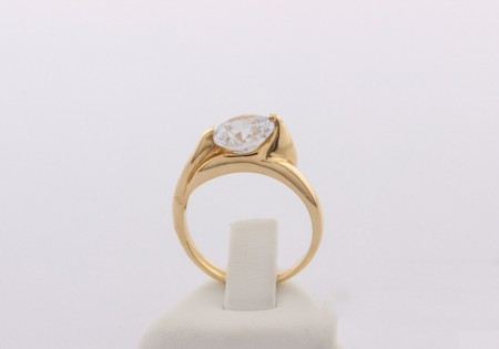 Годежен пръстен от жълто злато с циркон - 3,77 грама