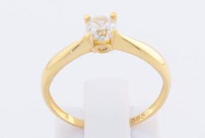 Годежен пръстен от жълто злато с циркон GD0116
