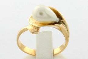 Дамски пръстен от жълто злато с перла DD0045