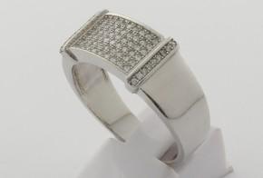 Мъжки сребърен пръстен с циркони SM0050