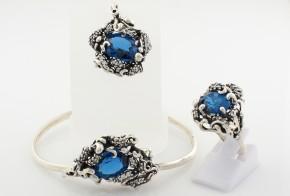 Комплект от сребро със син топаз и циркони CSD0023