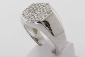 Мъжки сребърен пръстен с циркони SM0063