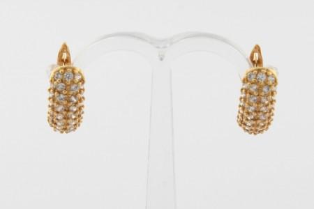 Дамски обеци от жълто злато с циркони - 3,46 грама