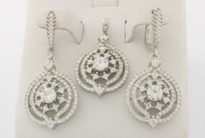 Дамски сребърен комплект с циркони SKT0016