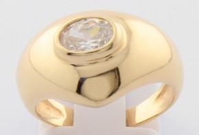 Дамски пръстен от жълто злато с циркон DD0115