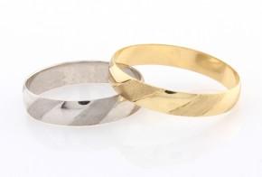 Брачни халки от бяло и жълто злато BH0286