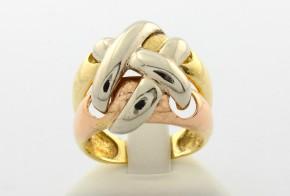 Дамски пръстен от бяло, жълто и розово  злато DD0046