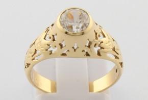 Дамски пръстен от жълто злато с циркон DD0146
