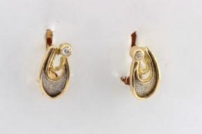 Дамски обеци от бяло и жълто злато  с циркони   - 3,21 грама, дължина на обецата 13 мм. ,ширина  7 мм.