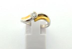 Годежен пръстен от жълто и бяло злато с диамант D3058