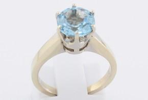 Дамски пръстен от бяло злато със син топаз D1209