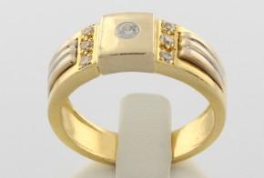 Мъжки пръстен от  бяло  и жълто злато MD0038