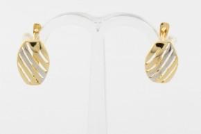 Дамски обеци от бяло и жълто злато    - 2,30  грама