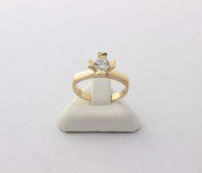 Годежен пръстен от жълто злато с циркон- 3,60  грама ,размер 53