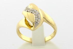 Дамски пръстен от жълто злато с циркони DD0037