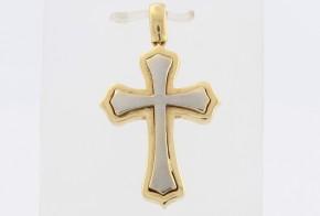 Златен кръст от бяло и жълто злато VK0098