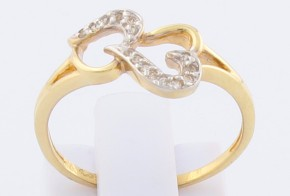 Дамски пръстен от жълто злато с диаманти D2072