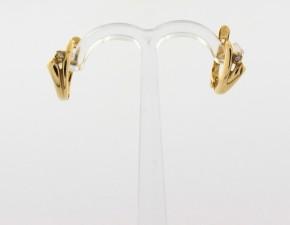 Обеци от жълто  злато с диаманти - 2,10   грама, диаманти - 2*0,020 carata