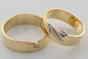 Брачни халки от бяло, жълто и розово злато BH0116