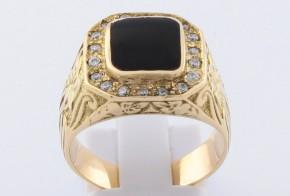 Мъжки пръстен от жълто злато с циркони MD0068