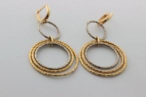 Дамски обеци от бяло и жълто  злато  -3,28  грама, дължина на обеците 45 мм., ширина 23  мм.