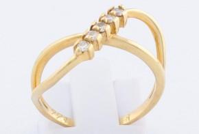Дамски пръстен от жълто злато с диаманти D993
