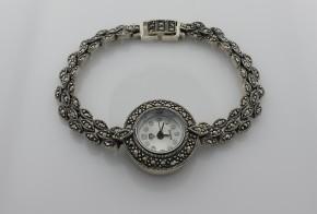 Дамски сребърен часовник с марказити  CH0003