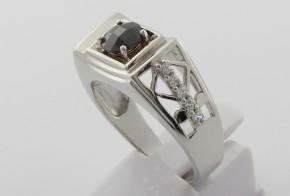 Мъжки сребърен пръстен с циркони SM0028