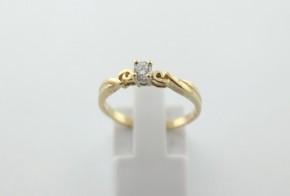 Годежен пръстен oт  жълто злато с циркон GD0177