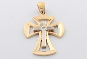 Златен кръст от бяло и жълто злато с диамант  VE309