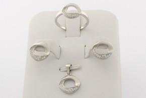 Дамски сребърен комплект с циркони SKT0017