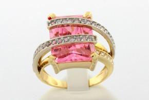 Дамски пръстен от бяло и жълто злато с циркони  DD0024