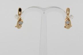 Дамски обеци от жълто злато с циркони - 1,75 грама