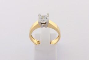 Годежен пръстен от бяло и жълто злато с циркон GD0160