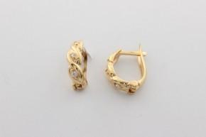 Дамски обеци от жълто злато  с циркони  - 1,70  грама, дължина на обеците 12  мм. ,ширина  4 мм.