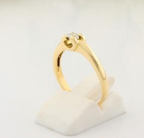 Годежен пръстен от жълто злато с диамант D2056