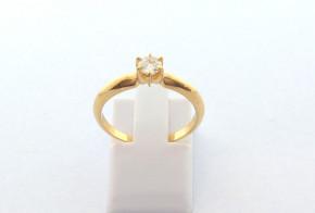 Годежен пръстен от жълто  злато с диамант D3096