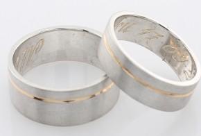 Брачни халки от бяло и жълто злато BH0150