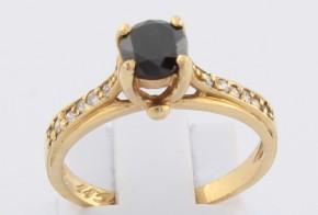 Годежен пръстен от жълто злато с черен диамант D1131