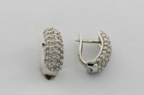 Дамски обеци от бяло злато с циркони - 3,57 грама, дължина на обеците 16 мм., ширина 6 мм.