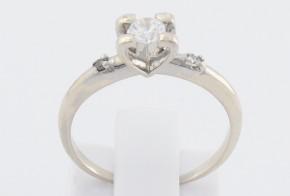 Годежен пръстен от бяло злато с циркони GD0084