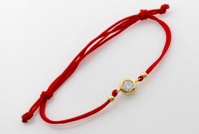 Златна гривна с червен конец с камъче ZGC0008