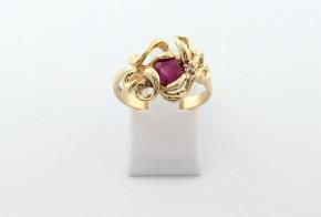 Годежен пръстен от жълто  злато с диамант D3077