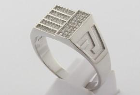 Мъжки сребърен пръстен с циркони SM0067