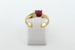 Годежен пръстен от жълто  злато с диамант D3082