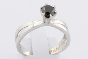 Годежен пръстен от бяло злато с черен диамант D1112
